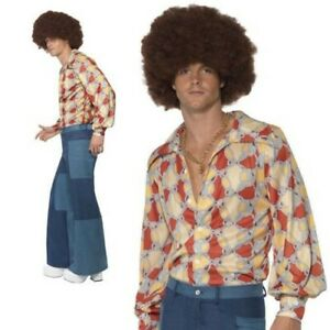 Adult 70s Mens Patchwork Trousers Only Denim Flared Disco Fancy Dress Outfit M L