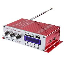 Hy-400 Mini Portable Hi-Fi Stereo Audio Amp Amplifier Bass with Fm Lcd Display