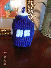 tardis amigurumi bag tag dr. WHO crochet handmade keychain decoration-FREE SHIP