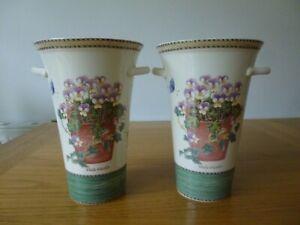 2 x Wedgwood Sarah's Garden Vases Viola Tricolour - Queen's Ware