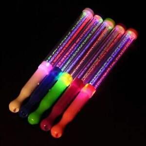 8 Light-Up Strobe Sticks Flashing Patrol Wands LED Glow Blinking Rave Party EDC