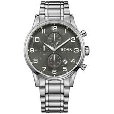 NEW GENUINE HUGO BOSS 1513181 SILVER BLACK DIAL AEROLINER MENS WATCH