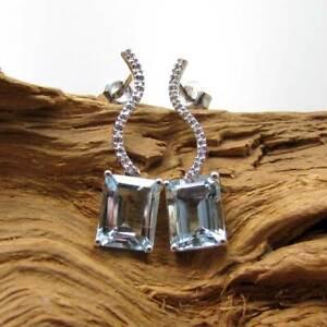 Wert 1100,- Gold Ohrhänger aus 750 / 18KT Weißgold Ohrringe Aquamarin Diamanten