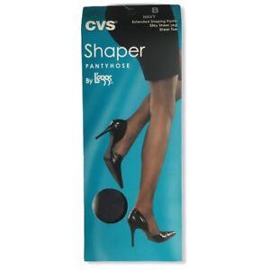 CVS Leggs Shaper Pantyhose Silky Sheer Leg Sheer Toe Navy Size B
