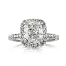 Solid Real 14K White Gold fgj 3.1 Ct Cushion Cut Diamond Engagement Rings