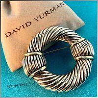 DAVID YURMAN Sterling Silver .925 & 14K Yellow Gold Cable Pin Brooch / VINTAGE