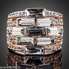 18K Rose Gold Plated Black White Swarovski Stellux Austrian Crystal Women Ring
