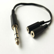 6.35mm 1/4 male Stereo Jack to 2x female 3.5mm Stereo Jack Socket