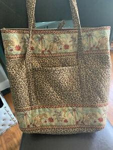 Large Quilted Tote Leopard Print withElephant•giraffe•monkeys•African safari Bag