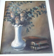 Oil Painting Signed E Lewis White Vase Flowers and Old Books wood framed