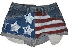 New listing Wrangler Shorts Womens HandPainted American Us Flag Denim Jean 29x30 Cotton