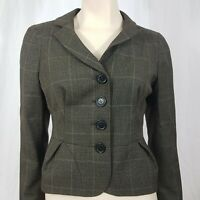 L K Bennett Wool Check Tweed Fitted Jacket Grey Size UK 10 Smart Career