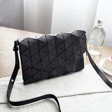 Womens Matte Black Folding Geometric Diamond Lattice Handbag Shoulder Bag Purse