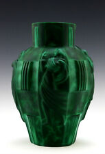 Glamorous Art Deco Jade Malachite Nude Ladies Large Vase 1930's H.Hoffmann