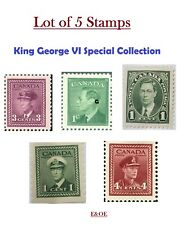 Lot of 5 Stamps - King George VI Edition -1937 1945 1950 Canada Stamp War MNH/VF