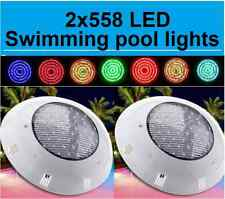 NEW HQ POWERFULL 2X 558 LED SWIMMING POOL STRONG LIGHT RGB 7 COLOR  WITH REMOTE
