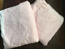 Lot of 2 Whisper Soft Mills cotton pink & white gingham twin size bed skirts