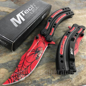 MTech Collectors Embossed Spider Print Blade Spring Assisted Pocket Knife [Red]