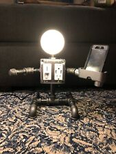 Steampunk black pipe...LAMP BUDDY...USB charger with Outlet