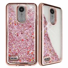 For LG Fortune 2 Chrome Glitter Liquid Bling Phone Case+Black Tempered Glass