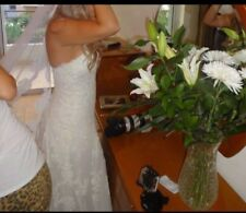 Pronovias SUN Patric COLLEZIONE Wedding Dress Size 38/10 con scarpe di corrispondenza