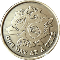 Rose One Day At A Time Serenity Prayer Sobriety Medallion Chip AA NA