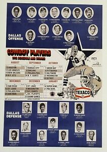 1972 Texaco Dallas Cowboys Poster - Staubach - Lilly - Ditka - Alworth - Pugh