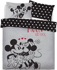 Disney Mickey Minnie Mouse 'Love You' Black Grey Polka Double Duvet Bedding Set