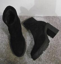 Miss Selfridge Black BREE Chunky Heeled Sock Boots Size UK 3 EU 36
