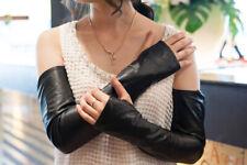 women fashion no finger fingerless opera long real sheep leather gloves size7.0
