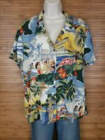 Vintage Reyn Spooner Hawaiian Traditionals Graphic Aloha Shirt Womens sz Large L