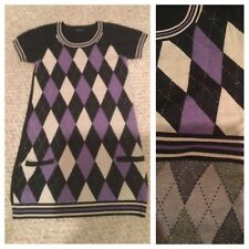 Classic Argyle Crew Neck Knitted Top Sweater Dress Tunic Purple Indigo