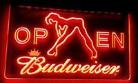 Budweiser Open Sign Red Neon Light Sign Bar Pub Man Cave