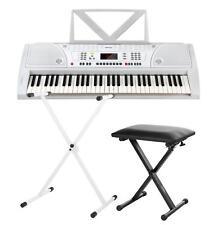 Edles weißes Digital Keyboard 61 Tasten Netzteil im Set Keyboardständer + Hocker