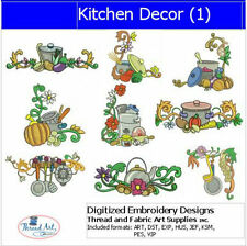 Embroidery Design CD - Kitchen Décor(1) - 10 Designs - 9 Formats - Threadart