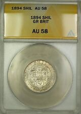 1894 Great Britain 1S Shilling Silver Coin ANACS AU-58