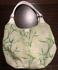 Lulu Guinness Bamboo Ramie Linen White Patent Leather Hobo Bag Purse Handbag Big
