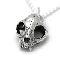 Sterling Silver Cat Skull Pendant Necklace Handmade Design Goth Steampunk Kitty