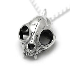 Sterling Silver Cat Skull Pendant Necklace Handmade Design Goth Steampunk Kitty