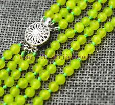 "Fashion jewelry 17-19 ""3 rows 4mm Green peridot bead necklace"