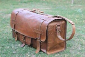 Men's New Genuine Leather Vintage Duffle Weekender Luggage Overnight Travel Bag