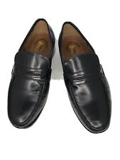 Mens French Shriner Dayton Black Leather Loafers Dress Shoes Sz 9W Wide