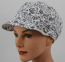CHEMO CAP Hat  WHITE + BLACK Paisley Head Cover Cancer Turban Chemotherapy Scarf
