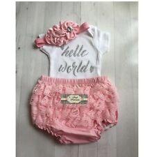 Newborn Baby Girl Gold Glitter Hello World Bodysuit ONLY, Take Me Home Hospital