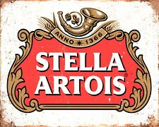 """10"""" x 8"""" STELLA ARTOIS BEER PUB BAR MAN CAVE METAL PLAQUE SIGN OTHERS LISTED 543"""