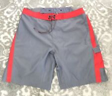 The North Face Swim Trunks Board Shorts Men's Size 38 Gray Red Unlined *Flaw*