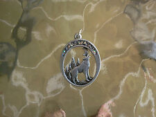 ZOO NIGHT ANIMAL 2 HOWLING WOLF PEWTER PENDANTS All New.