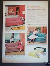 1956 SIMMONS Hide A Bed Original Vintage RETRO DECOR AD