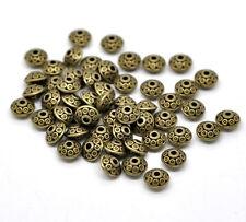 10x Metallperlen Spacer beads bronzefarben rund 4 x 6 mm NEU