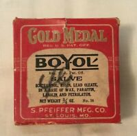Vintage Advertising Salve Tin Box GOLD MEDAL BO-Y-OL S. Pfeiffer St. Louis MO